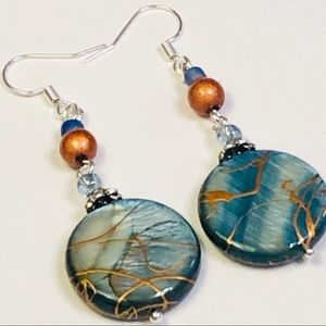 Glamorous Hand-painted Mother-of-Pearl Earrings